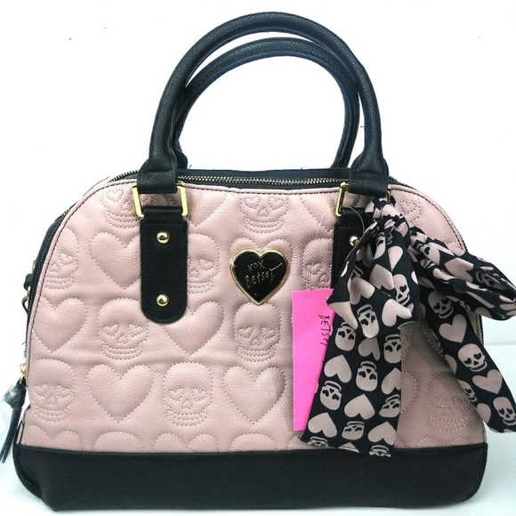 967bce0cd1e Betsey Johnson Bags | Satchel With Scarf Quilted Hearts Skulls ...